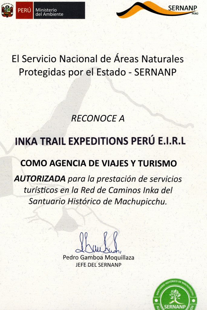 Authorization for Inca Trail