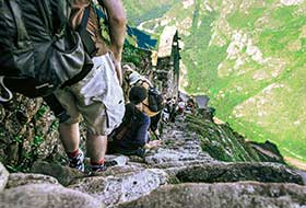 Descending from Huayna Picchu Mountain