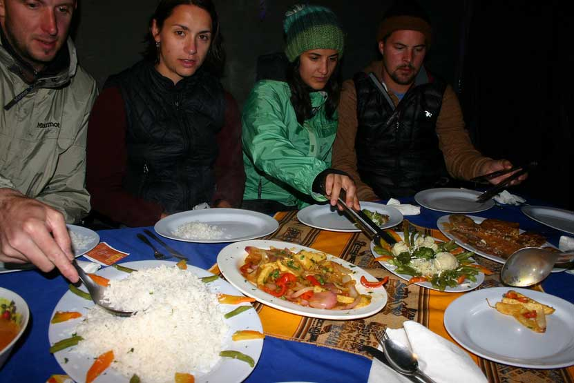Our dinner selecction on Salkantay Trek