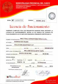 Operating license of Inka Trail Expeditions Peru