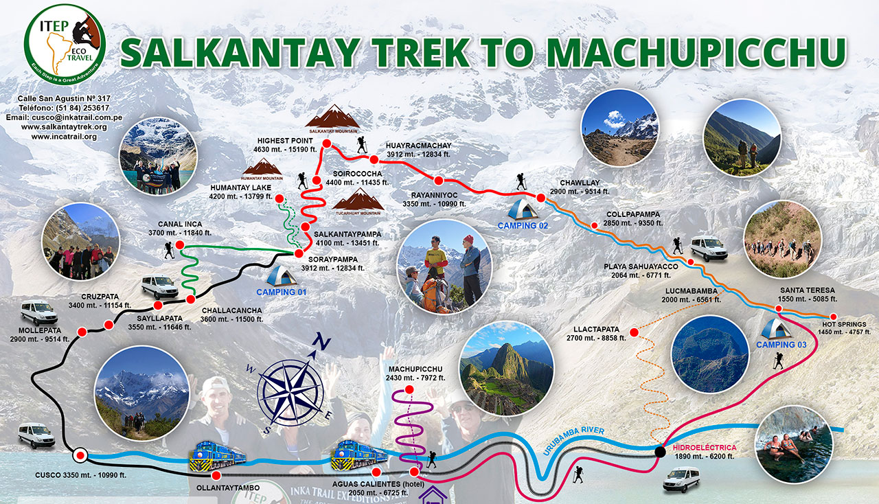 SALKANTAY TREK MAP to Machu Picchu - ITEP Eco Travel on inca trail map, cusco peru map, sedona trail map, bariloche trail map, mount everest trail map, urubamba river map, los angeles trail map, cusco area map, yellowstone national park trail map, sacred valley peru map, vilcabamba ecuador map, salkantay trail map, grand canyon national park trail map, santa barbara trail map, sugarloaf mountain trail map, las vegas trail map, incan ruins map, san juan trail map, peru landmarks map, highlands map,