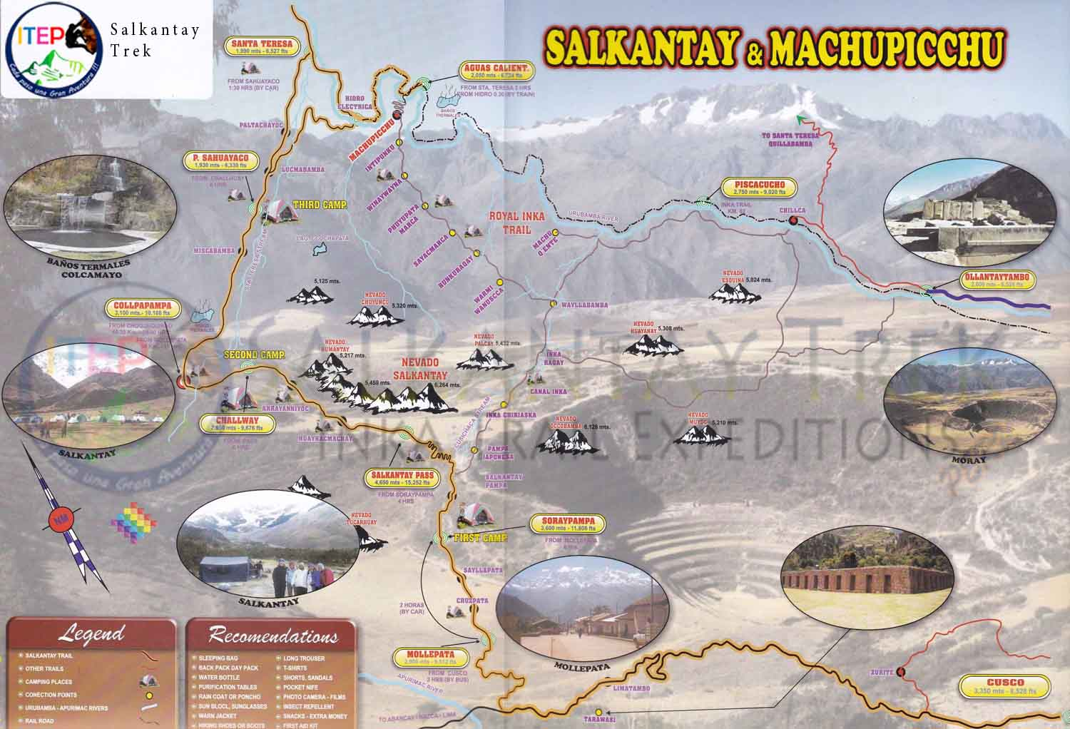 Salkantay Trek map to Machu Picchu
