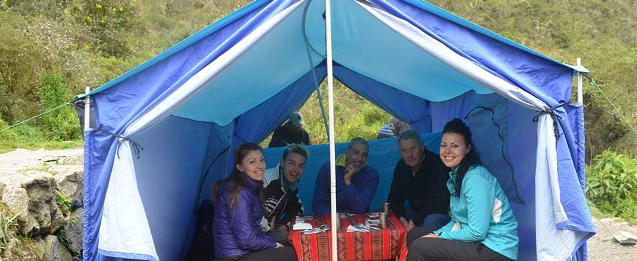 Lunch in the Tent - Inca Trail to Machu Picchu