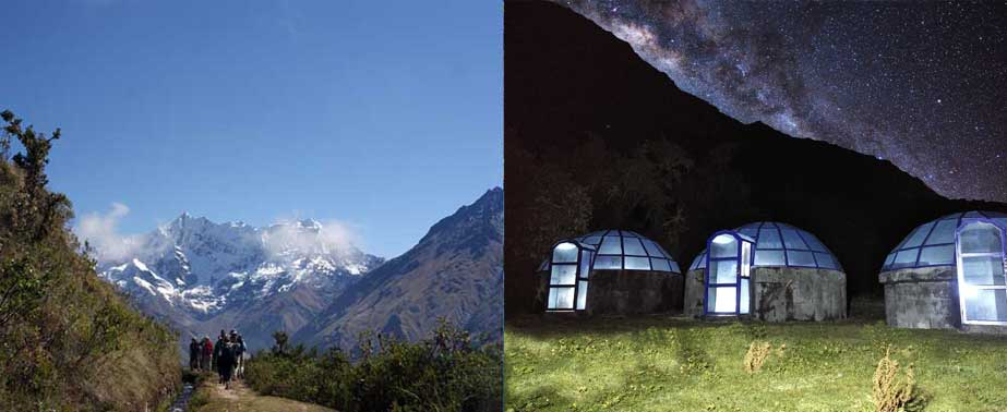 View of Humantay Mountain and Andean Sky camp lodge