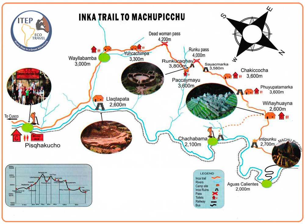"Map - DAY 1 | Transfer by ITEP Van from Cusco to Train station, later train service to Km 104 ""Inca Trail Entrance"". Trekking Km 104 ""Chachabamba"